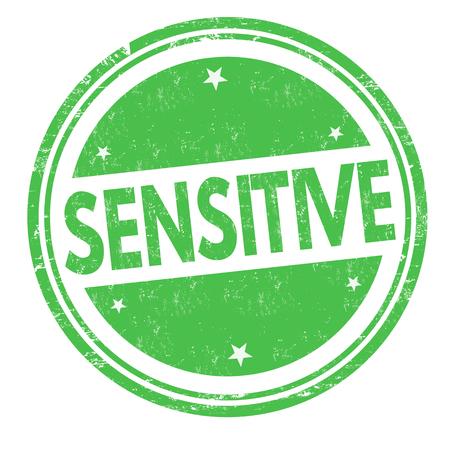 Sensitive sign or stamp on white background, vector illustration 向量圖像