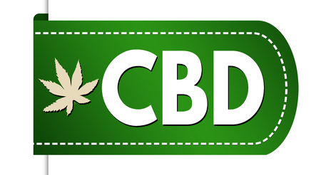 CBD ( Cannabidiol) banner design on white background, vector illustration