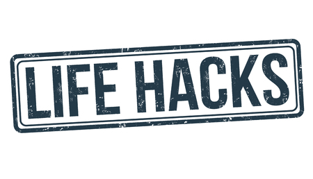 Life hacks sign or stamp on white background, vector illustration Illusztráció