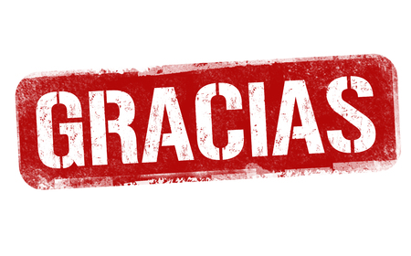 Thank you on spanish language ( Gracias ) sign or stamp on white background, vector illustration