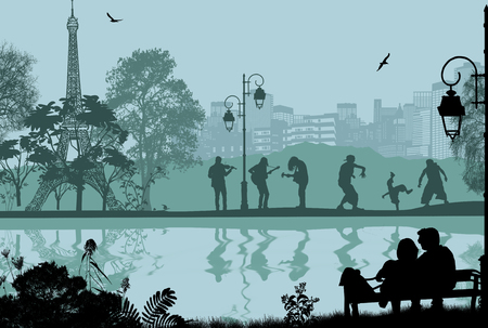 Vector design background with Paris cityscape and people silhouettes with reflection on water  イラスト・ベクター素材