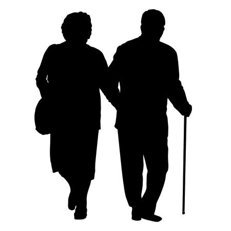 Coppia senior silhouette su uno sfondo bianco, illustrazione vettoriale