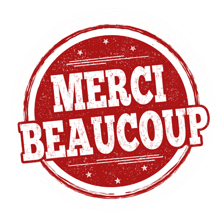 Thank you very much on french language ( Merci beaucoup ) sign or stamp on white background, vector illustration