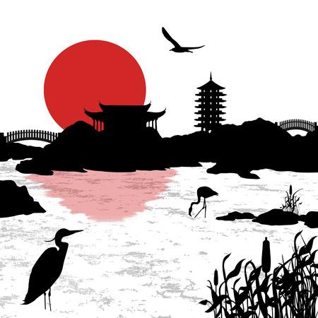 Beautiful asian landscape near water background, vector illustration
