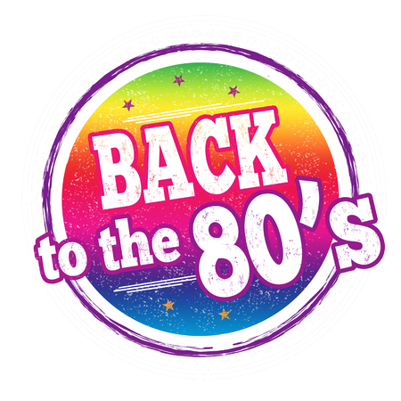 Back to the 80s sign or stamp on white background, vector illustration