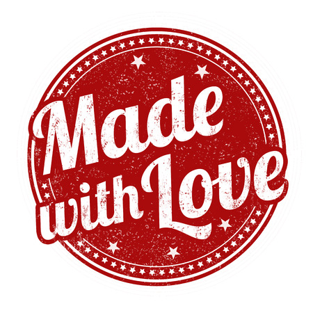 Made with love sign or stamp on white background, vector illustration Vettoriali