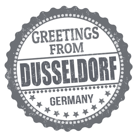 Greetings from Dusseldorf sign or stamp on white background, vector illustration