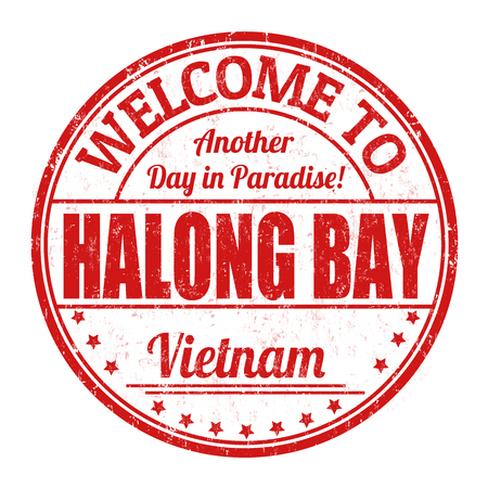 Welcome to Halong Bay sign or stamp on white background, vector illustration