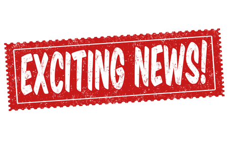 Exciting news sign or stamp on white background, vector illustration