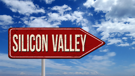 Silicon Valley metallic vintage sign over blue sky with clouds, 3D illustration