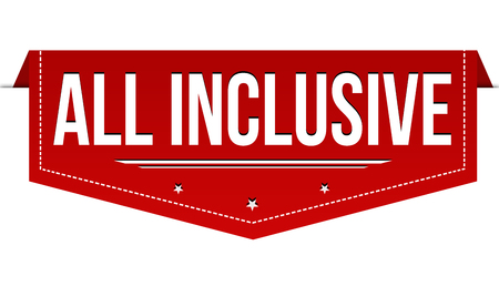 All inclusive banner design on white background, vector illustration