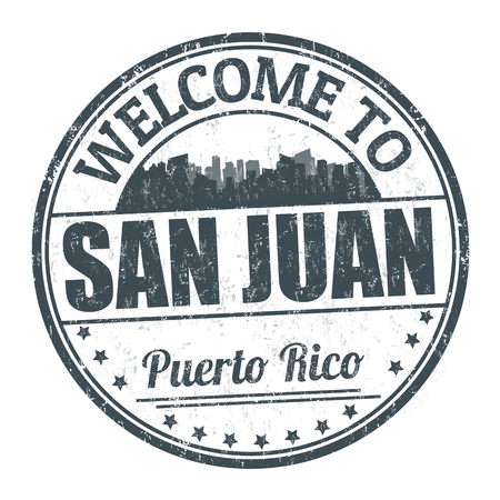 Welcome to San Juan sign or stamp on white background, vector illustration