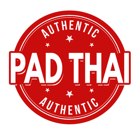 Pad thai sign or stamp on white background, vector illustration  イラスト・ベクター素材