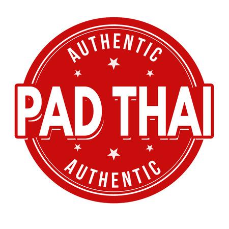 Pad thai signe ou tampon sur fond blanc, illustration vectorielle