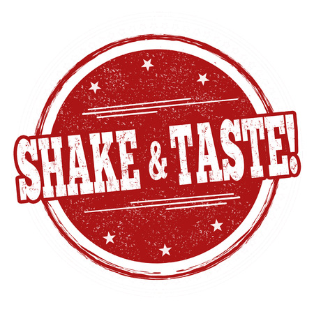 Shake and taste sign or stamp on white background, vector illustration Vettoriali