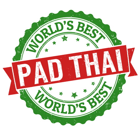 Pad thai sign or stamp on white background, vector illustration Vecteurs