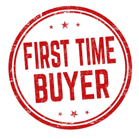 First time buyer sign or stamp on white background, vector illustration