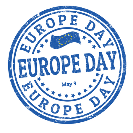 Europe day sign or stamp on white background, vector illustration