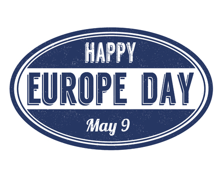 Happy Europe day sign or stamp on white background, vector illustration Ilustracja