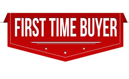 Diseño de banner de comprador por primera vez sobre fondo blanco, ilustración vectorial Ilustración de vector