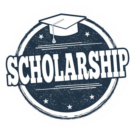 Scholarship sign or stamp on white background, vector illustration