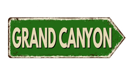 Grand Canyon vintage rusty metal sign on a white background, vector illustration