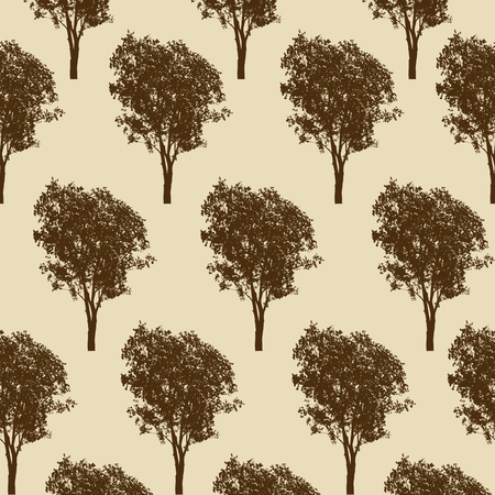 Trees pattern texture design, vector illustration. Tree print for textile design on retro style