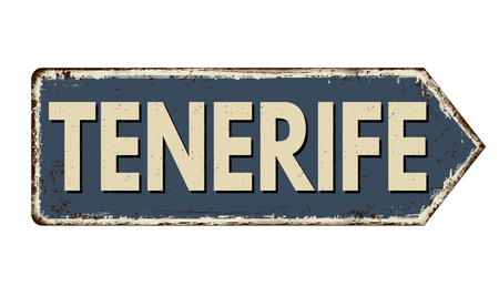 Tenerife vintage rusty metal sign on a white background, vector illustration 일러스트