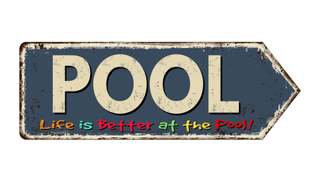Pool vintage rusty metal sign on a white background, vector illustration