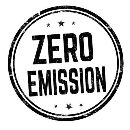 Zero emission sign or stamp on white background, vector illustration