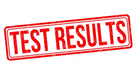 I risultati dei test firmano o timbro su sfondo bianco, illustrazione vettoriale