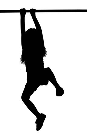 Girl silhouette hanging on a horizontal bar or a monkey bar, on white background, vector illustration