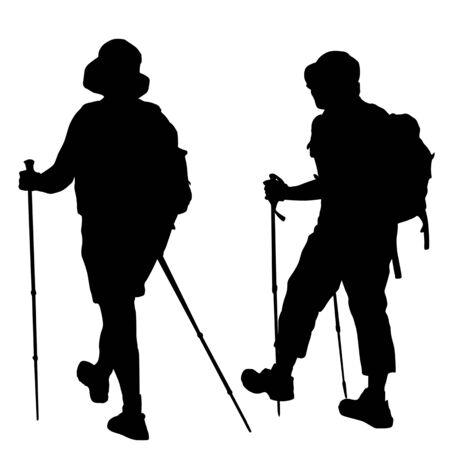 Silhouettes of people with trekking stick on white background, vector illustration