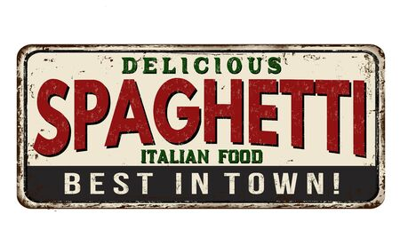 Spaghetti vintage rusty metal sign on a white background, vector illustration Stock Illustratie