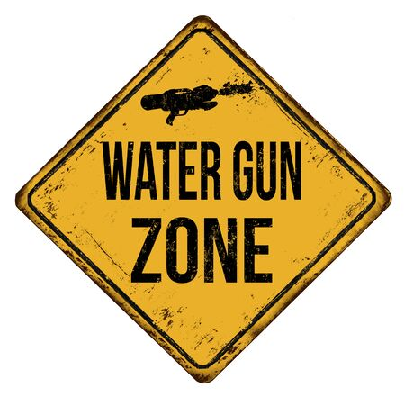 Water gun zone vintage rusty metal sign on a white background, vector illustration