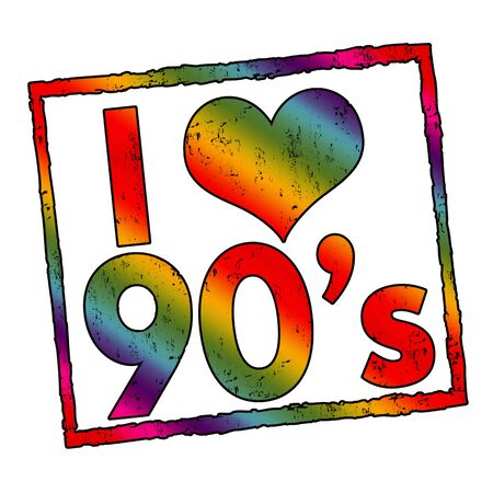 I love 90s sign or stamp on white background, vector illustration