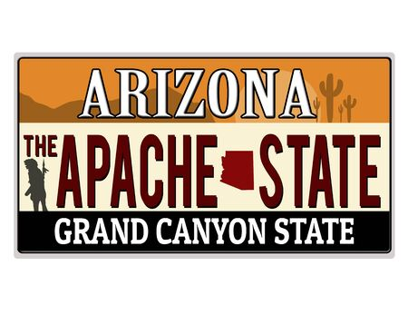 An imitation Arizona license plate with text the apache state written on it making a great concept. Words on the bottom Grand Canyon state