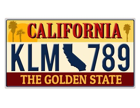 An imitation California license plate with text the golden state written on it making a great concept. Words on the bottom The Golden state  Stockfoto