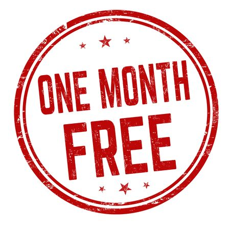 One month free sign or stamp on white background, vector illustration