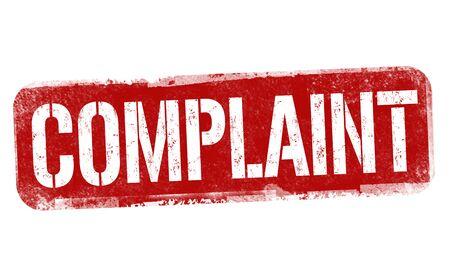 Complaint sign or stamp on white background, vector illustration