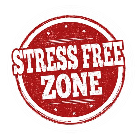 Stress free zone sign or stamp on white background, vector illustration