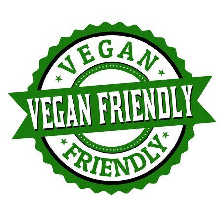 Vegan friendly label or sticker on white background, vector illustration Vector Illustration