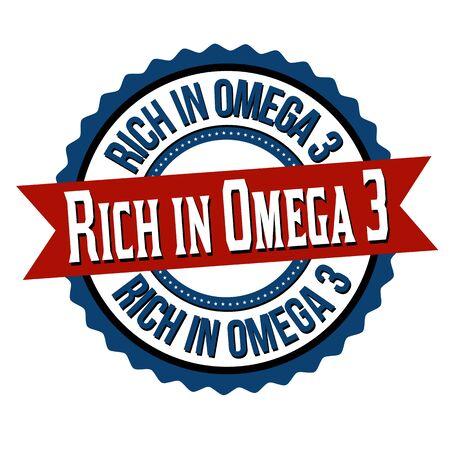 Rich in omega 3 label or sticker on white background, vector illustration Ilustração