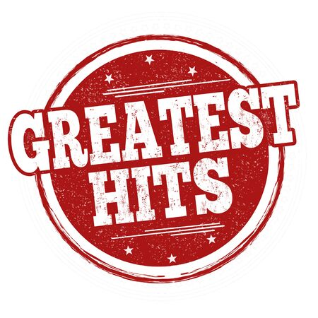 Greatest hits sign or stamp on white background, vector illustration