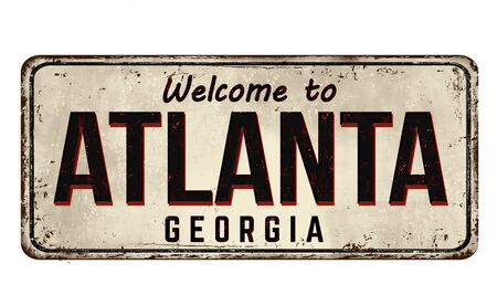 Welcome to Atlanta vintage rusty metal sign on a white background, vector illustration 向量圖像