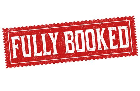 Fully booked sign or stamp on white background, vector illustration Stok Fotoğraf - 132197397
