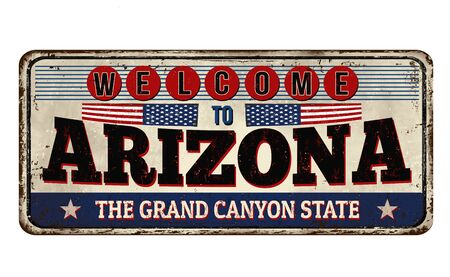 Welcome to Arizona vintage rusty metal sign on a white background, vector illustration