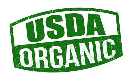 Usda organic sign or stamp on white background, vector illustration