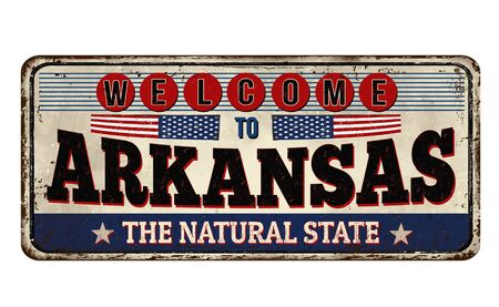Welcome to Arkansas vintage rusty metal sign on a white background, vector illustration