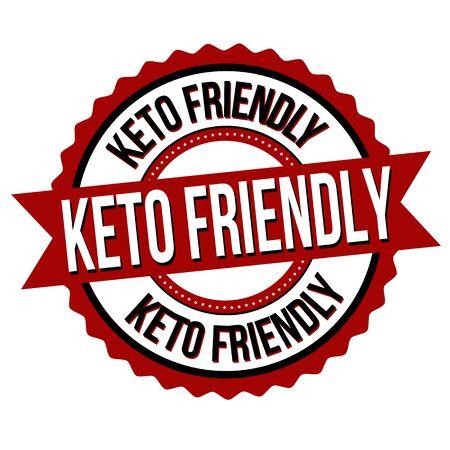 Keto friendly label or sticker on white background, vector illustration